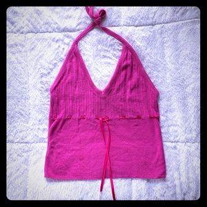 Pink Halter Crop Top with Ribbon Waist Tie